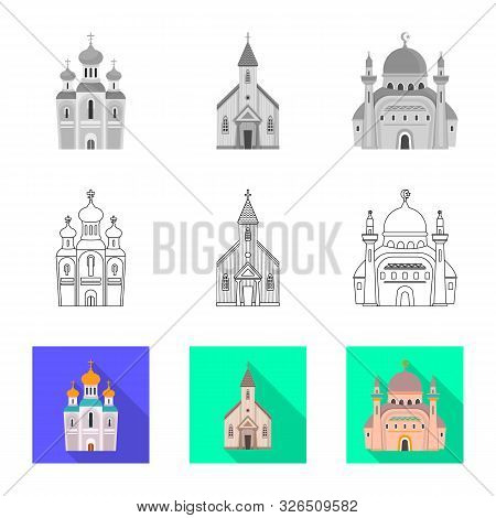 Vector Illustration Of Cult And Temple Icon. Set Of Cult And Parish Stock Symbol For Web.