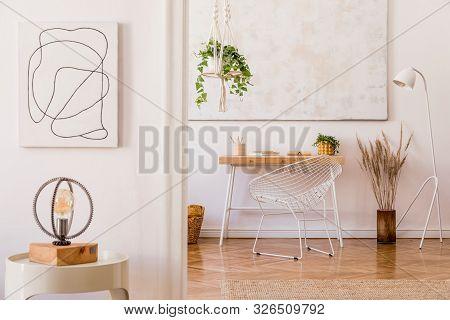 Minimalistic Boho Interior With Design And Handmade Macrame Shelf Planter Hanger For Indoor Plants,