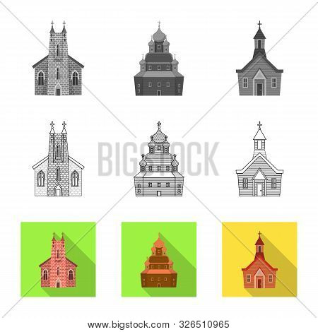 Vector Design Of Cult And Temple Sign. Collection Of Cult And Parish Vector Icon For Stock.