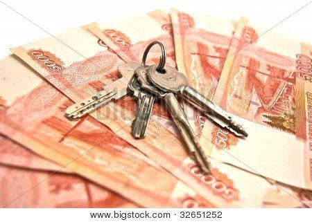 Keys And 5000 Rubles Banknotes