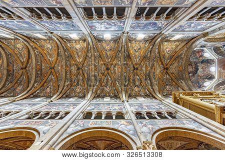 Parma, Italy - August 7, 2019: Parma Cathedral (italian: Duomo Di Parma, Cattedrale Di Santa Maria A