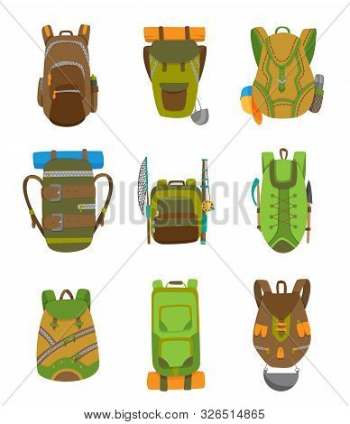Colorful Camping Backpack Set In Flat Design. Tourist Retro Back Packs Vector Illustration. Classic