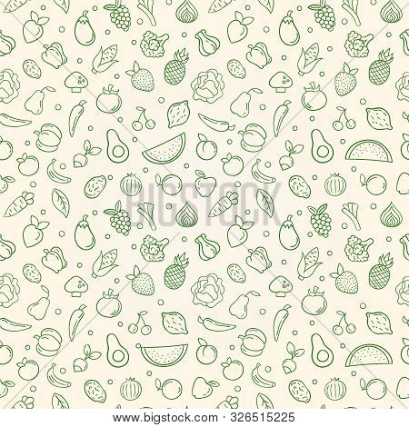 Natural Food Seamless Pattern Of Green Outline Vegetable And Fruit Icons. Organic Foods Concept Back