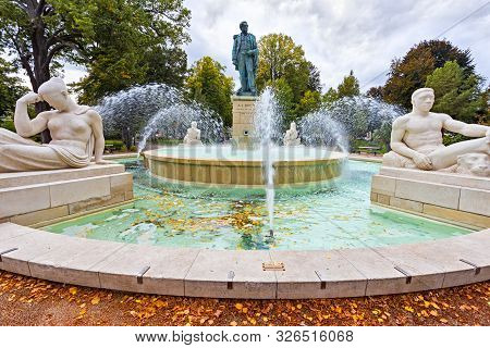 Beautiful Fountain In Parc Du Champ De Mars In The Touristic City Of Colmar In Alsace France