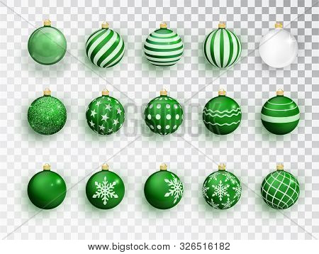 Green Christmas Balls On White Isolated. Set Of Isolated Realistic Decorations. Christmas Tree Toy.