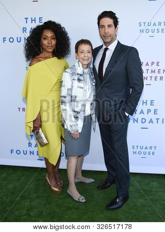 LOS ANGELES - OCT 06:  Angela Bassett, Gail Abarbanel and David Schwimmer arrives for The Rape Foundation Annual Brunch on October 06, 2019 in Los Angeles, CA