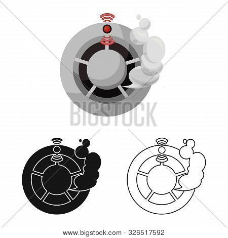 Vector Illustration Of Detector And Smoke Symbol. Collection Of Detector And Sensor Vector Icon For