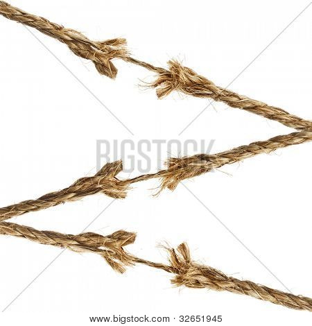 breaking torn damaged hemp ropes isolated on white background