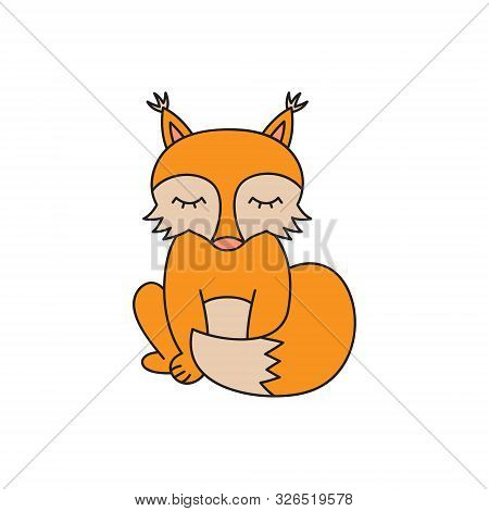 Fox Vector Illustration. Hand Drawn Outlined Cute Forest Animal, Ginger Fox Sitting With Tail In Fro