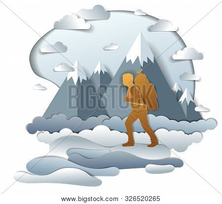 Hiker Man Walking Through Grasslands With High Mountain Peaks In Background. Vector Illustration Of