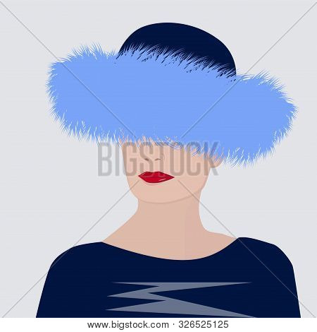 Blue Fur Hat With Long Nap - Elegant Woman - Vector. Winter Clothes. Modern Fashion. Salon Of Fur Pr