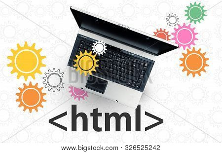 HTML Hyper Text Markup Language. laptop on html tag and gears poster