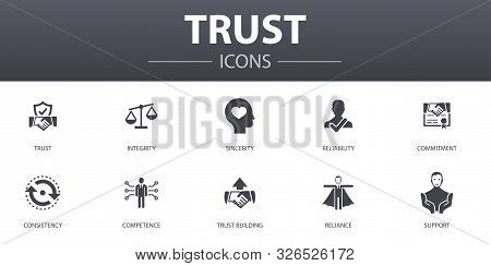 Trust Simple Concept Icons Set. Contains Such Icons As Integrity, Sincerity, Commitment, Trust Build