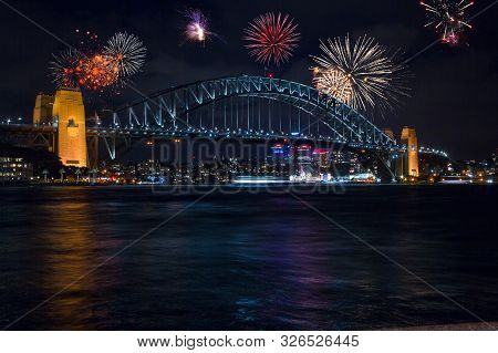 December 31, 2018. Sydney, Australia. Beautiful Fireworks Show Over The Sydney Opera And Harbour Bri