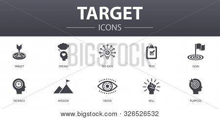 Target Simple Concept Icons Set. Contains Such Icons As Big Idea, Task, Goal, Patience And More, Can