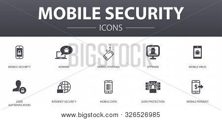 Mobile Security Simple Concept Icons Set. Contains Such Icons As Mobile Phishing, Spyware, Internet