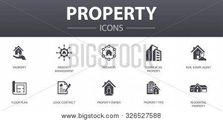 Property Simple Concept Icons Set. Contains Such Icons As Property Type, Amenities, Lease Contract,