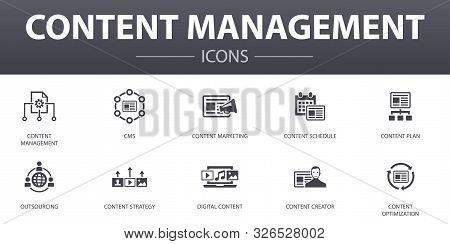 Content Management Simple Concept Icons Set. Contains Such Icons As Cms, Content Marketing, Outsourc