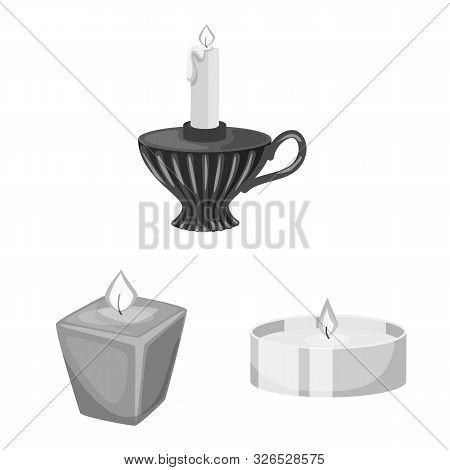 Vector Illustration Of Paraffin And Fire Logo. Collection Of Paraffin And Decoration Stock Symbol Fo