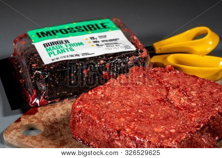 Morgantown, Wv - 8 October 2019: Packaging For Impossible Foods Burger Made From Plants With Raw Pro