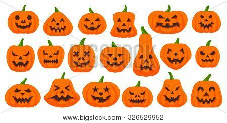 Jack O Lantern Flat Icons Set. Web Sign Kit Pumpkin Face. Halloween Pictogram Collection Includes Sc