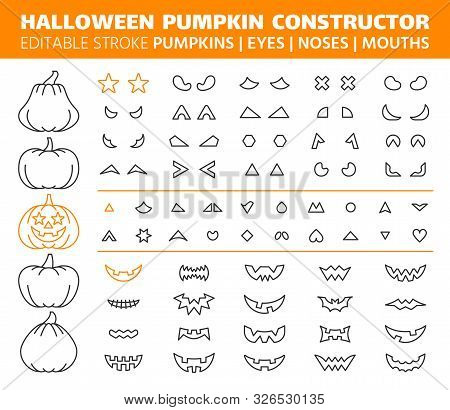 Halloween Pumpkin Thin Line Icons Set. Outline Sign Kit Face Constructor. Character Creator Linear I