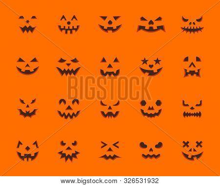 Pumpkin Face Flat Icons Set. Web Sign Kit Jack-o-lantern. Halloween Design Pictogram Collection Anim