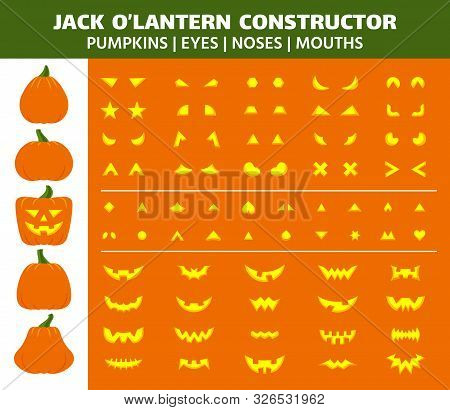 Halloween Pumpkin Flat Icons Set. Sign Kit Face Constructor. Character Creation Pictogram Collection