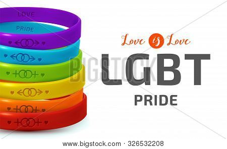 Lgbt Pride Concept. Rainbow Rubber Bracelets For Homosexual People. Silicone Wristbands With Symbols