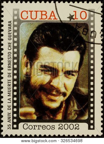 Moscow, Russia - October 07, 2019: A Stamp Printed In Cuba Shows Che Guevara, Latin American Revolut