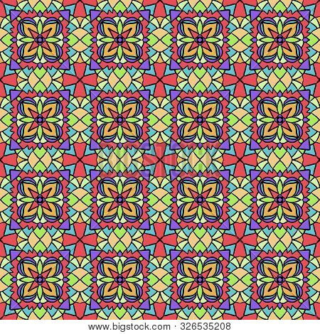 Abstract Colorful Green, Red, Yellow, Violet Geometry Tessellation Seamless Pattern Tiles. Vector Il
