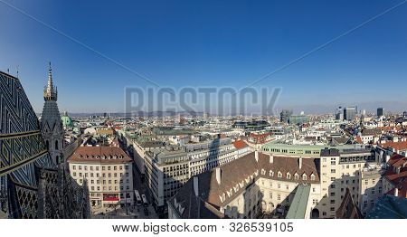 Vienna, Austria - Feb 15, 2019: Panoramic View To Skyline Of Vienna, Austria.