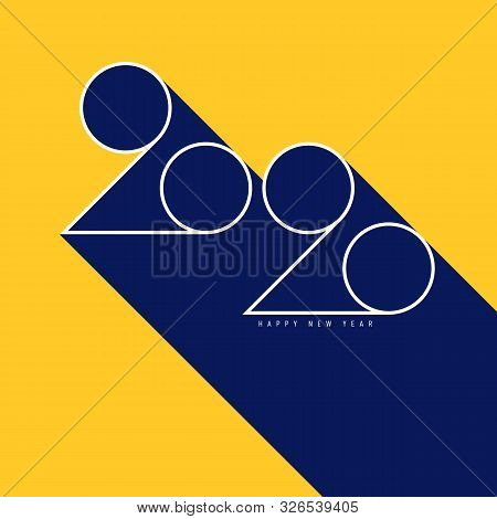 2020 Happy New Year Concept Decorative With Geometric Typography. Graphic Design Element Can Be Used