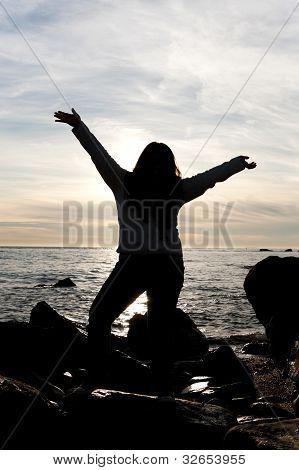 Beach Woman Silhouette