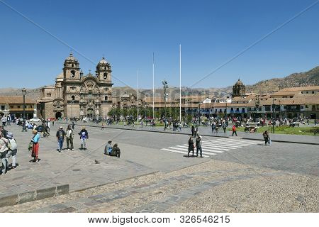 Cuzco, Peru - August 6, 2019: The Main Square Of Cusco, Plaza De Armas With Its Famous Landmark, Cus