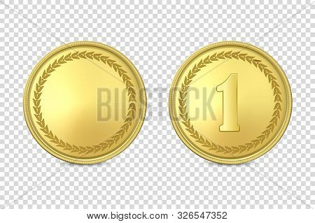 Vector 3d Realistic Blank Golden And Silver Metal Coin Or Medal Icon Set Closeup Isolated On Transpa