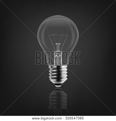 Vector 3d Realistic Off Light Bulb Icon Closeup Isolated On White Background With Reflection. Glowin