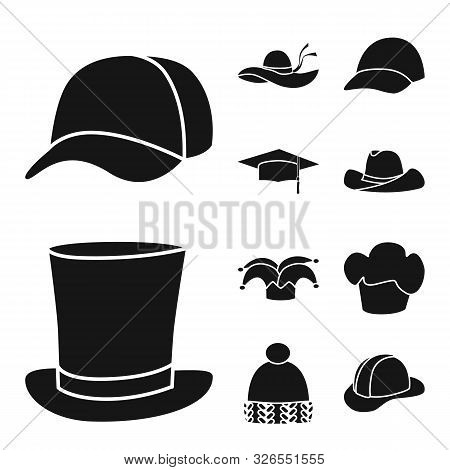 Isolated Object Of Beanie And Beret Icon. Set Of Beanie And Napper Stock Vector Illustration.