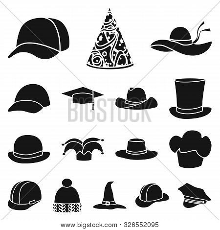 Vector Illustration Of Beanie And Beret Symbol. Set Of Beanie And Napper Stock Symbol For Web.