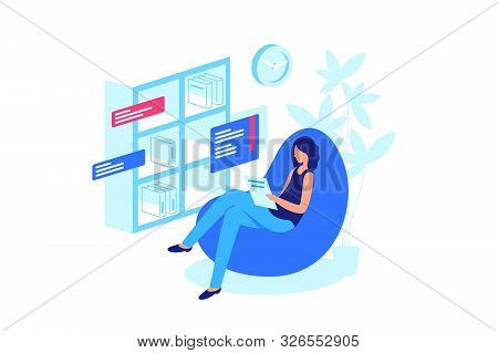 Reading Online Book, Abandonment Of Paper Books. Woman Reading E-book. Paper Book On Shelf, New Gene