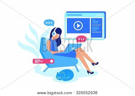 Online Courses, E-learning, Listening Lesson. Woman Watch Video And Chat With Teacher. Illustration.