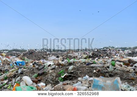 Trash landfill with numerous plastic, glass and paper waste littering the landscape