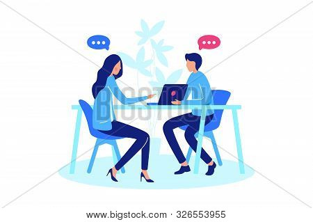 Conversation Between Two Person. Concept Meeting Woman And Man, Chat, Online And Real Communication.
