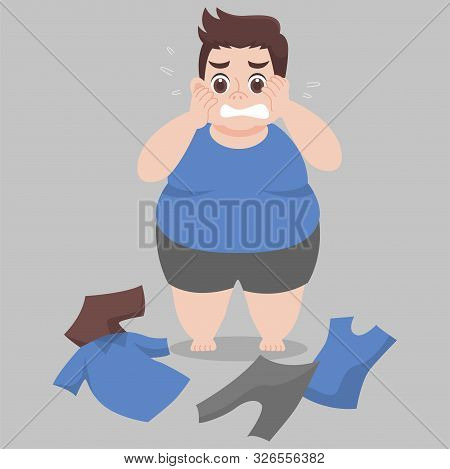 Big Fat Man Cannot Wearing Her Clothes Because She Is Too Fat,tight, Fit, Too Small, Body Over Weigh
