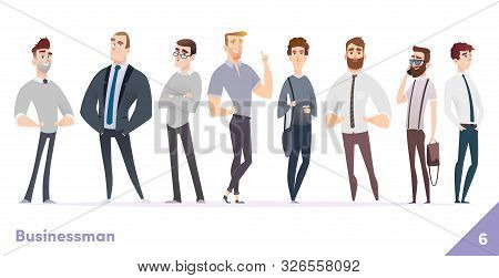 Businessman Or People Character Design Collection. Modern Cartoon Flat Style. Young Professional Mal