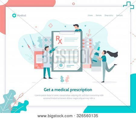 Get A Medical Prescription. Landing Page Template. The Doctor Writes A Prescription. Pharmacists To