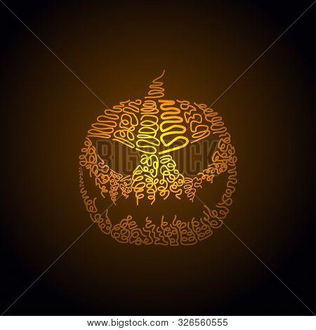 Vector Illustration Of Halloween Pumpkin. Hand Drawing Of Halloween Pumpkin
