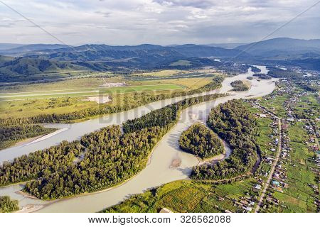 Aerial View Of Katun River, In Altai Mountains. Top View Of The Mountain River In The Altai Mountain