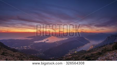 Panorama Of The Bay Of Kotor In Montenegro During A Beautiful Sunset