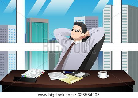 A Vector Illustration Of Asian Chinese Businessman In The Office